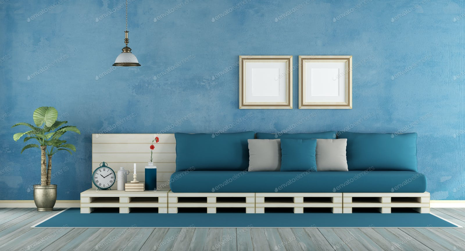 Blue retro living room photo by archideaphoto on Envato Elements