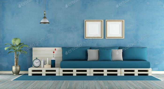 Blue retro living room