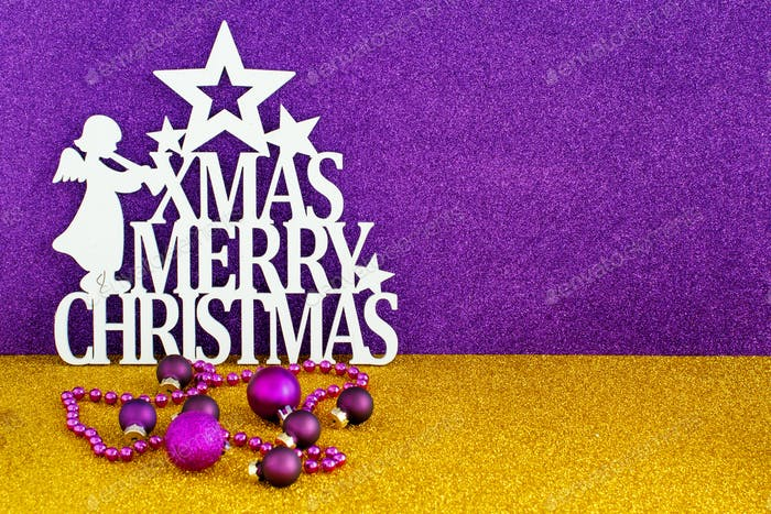Christmas sign with Golden and purple background