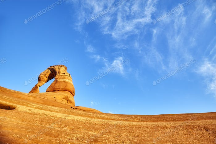 Delicate Arch at sunset, Utah, USA.