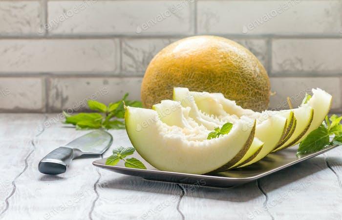 Fresh sliced melon