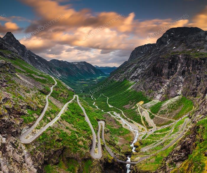 Trollstigen or Trolls Path is a serpentine mountain road in Norway
