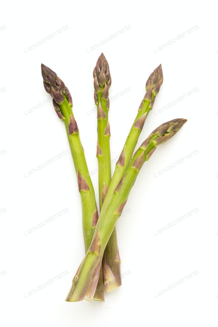 Fresh green asparagus on white background.