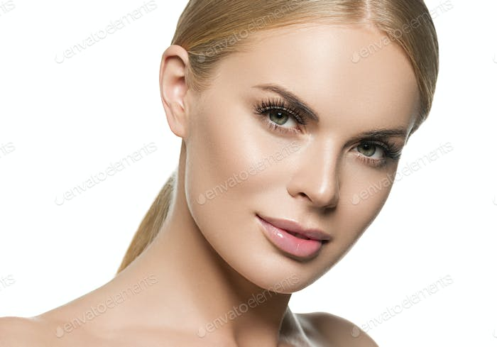 Pure skin healthy and beauty blonde hair woman with clean skin face natural makeup isolated white