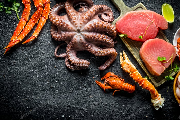 Raw tuna steak with crab and big octopus.