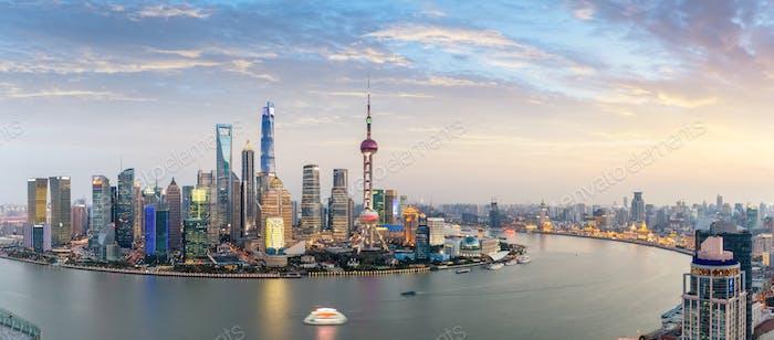 panoramic view of shanghai skyline at dusk