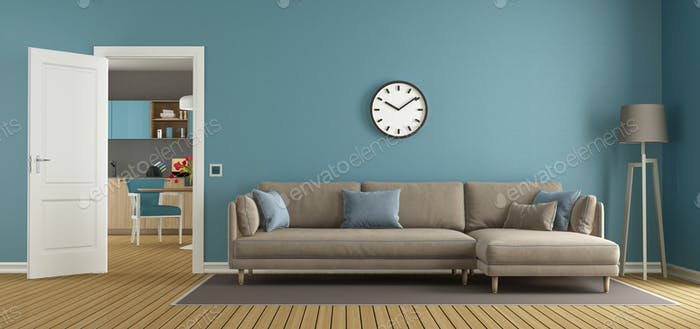 Blue and brown living room with kitchen