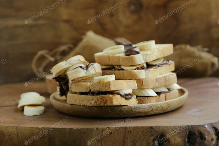 Sandwiches Chocolate Paste and Banana