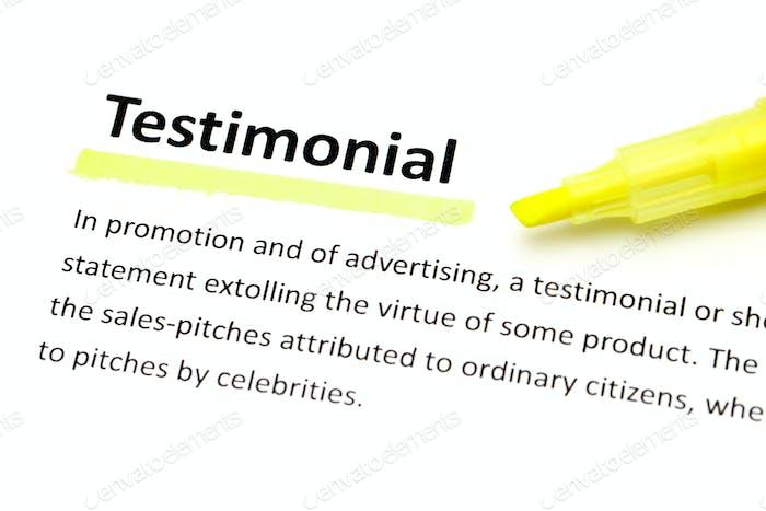 Definition of testimonial