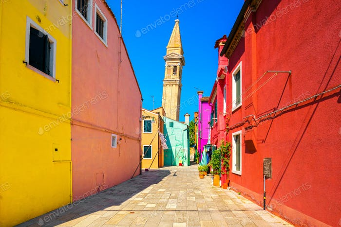 Venice landmark, Burano island colorful houses and campanile tow