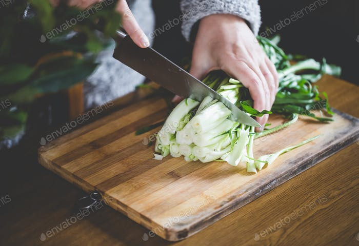 Woman Cuts Catalonia Chicory