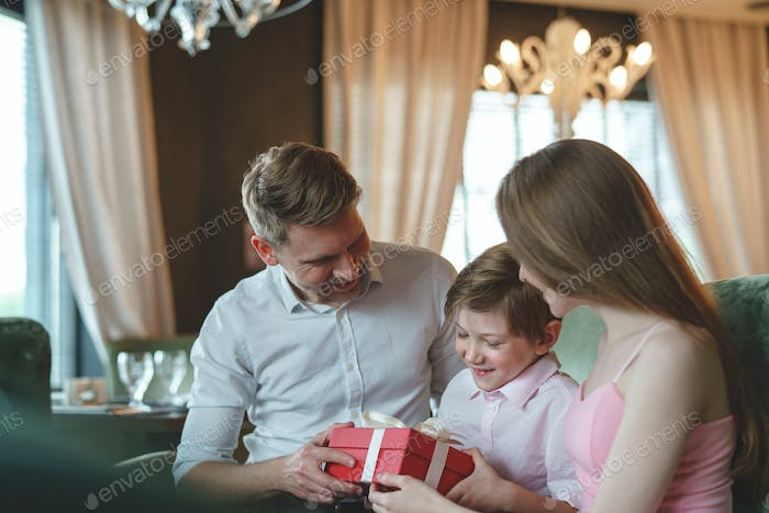 Young family with child in a restaurant
