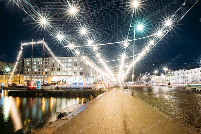 Helsinki, Finland. Evening Night Festive Christmas Xmas New Year
