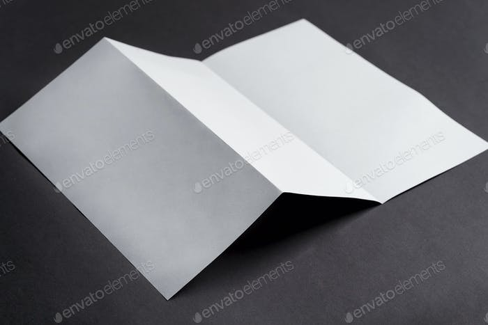 Mockup trifold template paper brochures on a black background