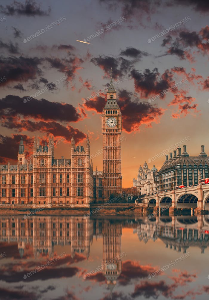 Big Ben reflected in water in a beautiful sunset London England