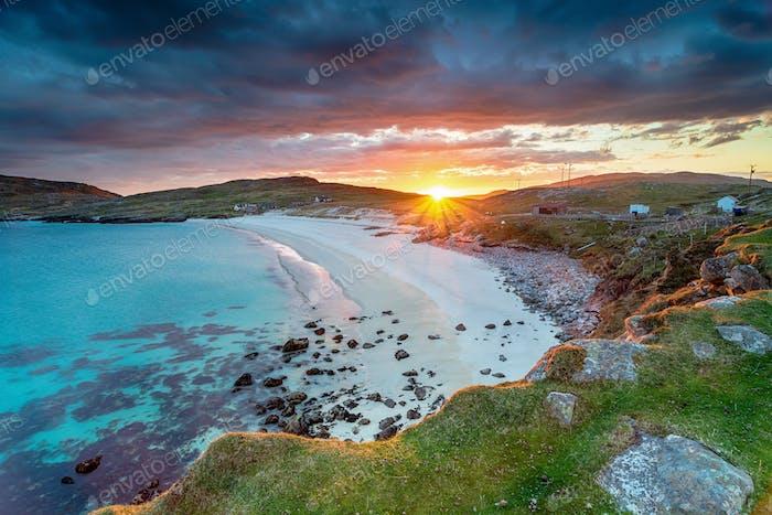 Beautiful sunset over the white sandy beach at Hushinish