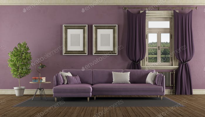 Purple retro living room
