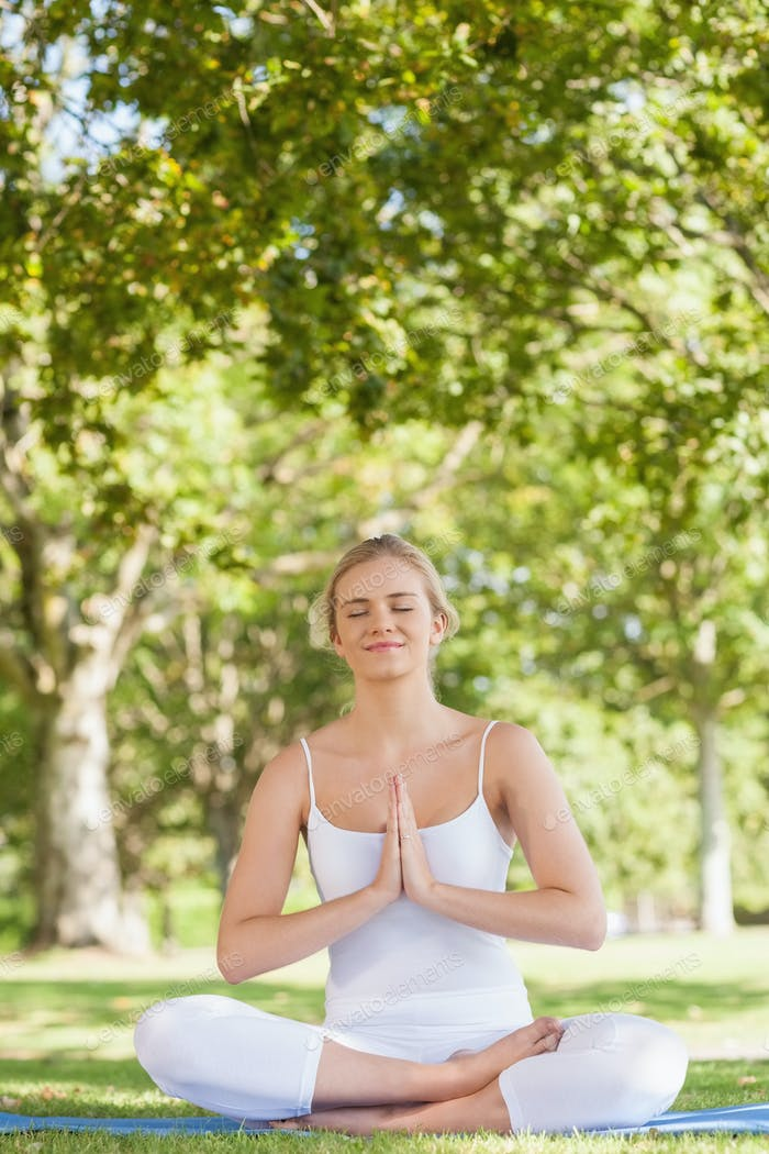Content pretty woman meditating sitting on an exercise v in a park