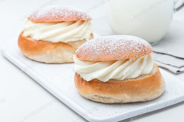 Traditional swedish dessert Semla, also called Shrove bun, with