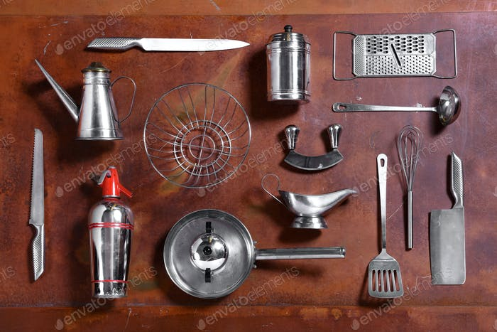 Collection of various metal kitchen utensils