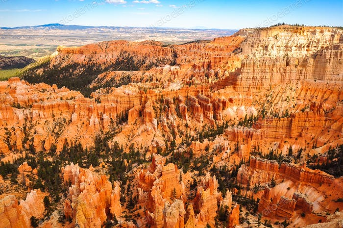 View of Bryce Canyon national park landscape before sunset