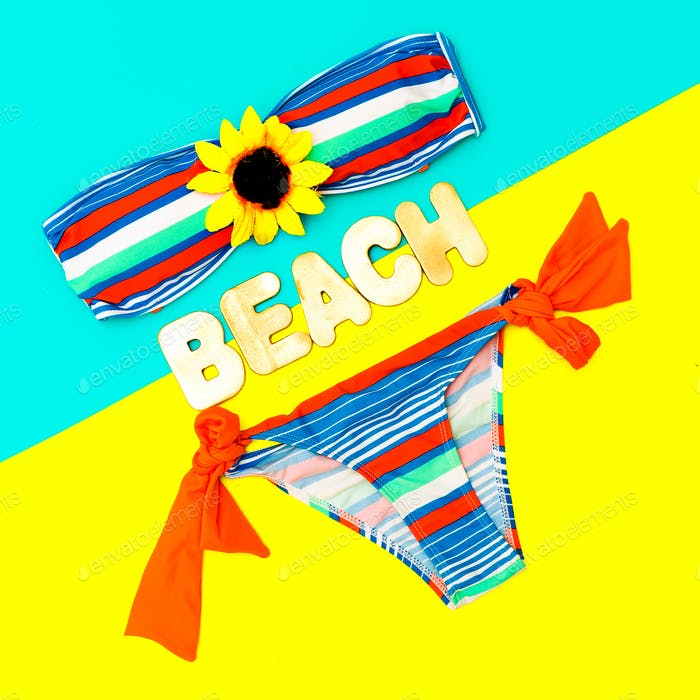 Fashionable swimsuit and accessories. Beach fashion Ladys style