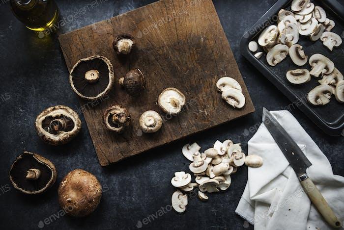 Aerial view of various mushroom