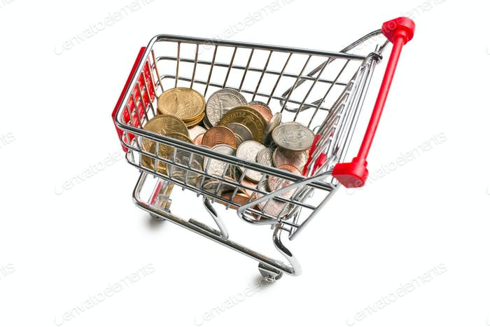 dollar coins in shopping cart