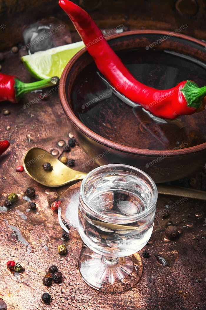 alcoholic drink with red pepper