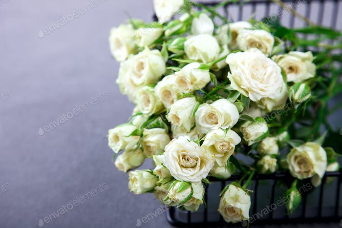 White Rose Bouquet.Holiday Day Valentine ,Birthday,Greeting Card,Gift.
