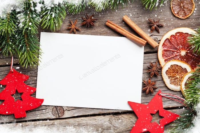 Christmas greeting card and food decor