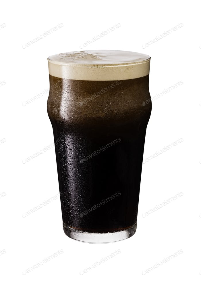 Refreshing Dark Stout Craft Beer on White