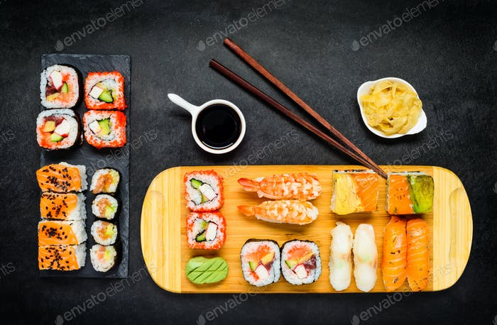 Sushi Delicacy with Soy Sauce, Wasabi and Sashimi