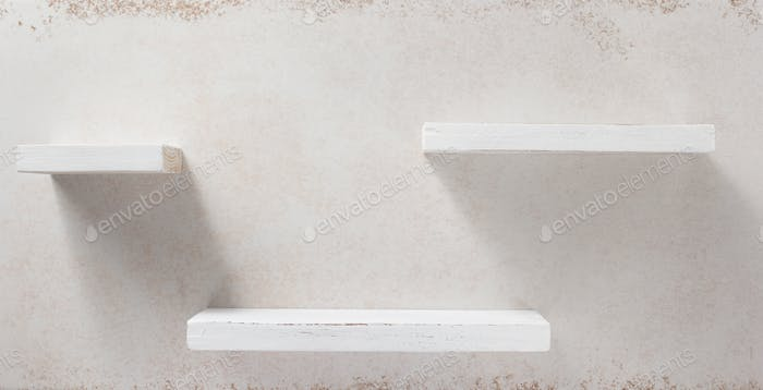 wooden shelf and concrete wall