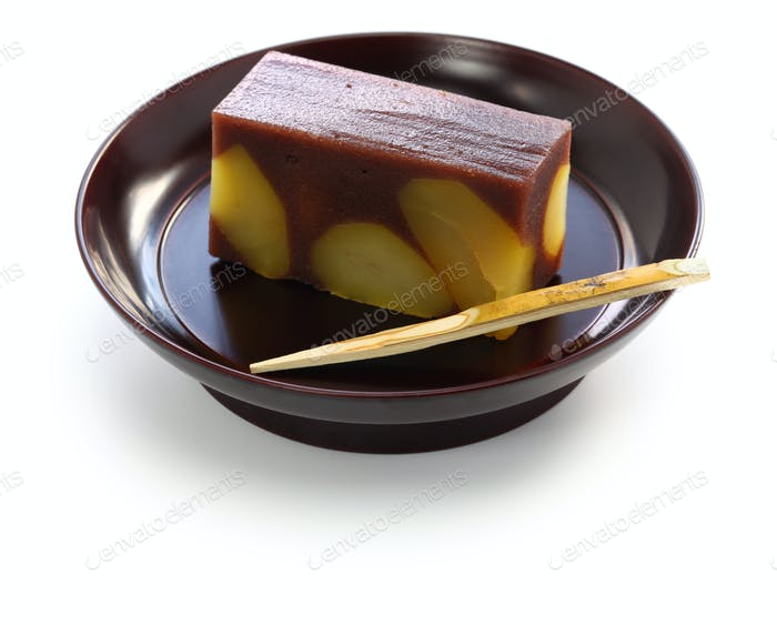 japanese traditional confection, kuri mushi yokan