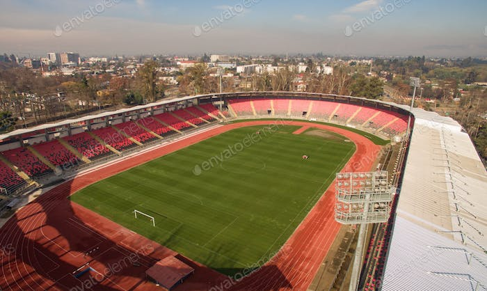 Aerial view of stadium. Aerial cityscape. Top view.