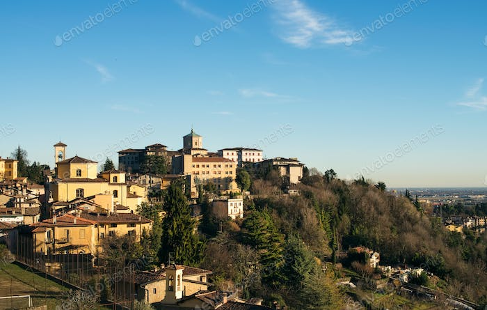View over Citta Alta or Old Town buildings