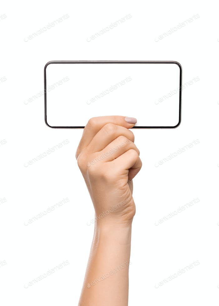 Woman demonstrating blank smartphone screen in horizontal orientation