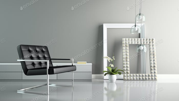 Part of  interior with stylish frames 3D rendering 2
