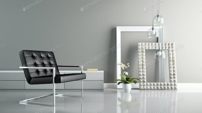 Teil des Interieurs mit stilvollen Rahmen 3D Rendering 2