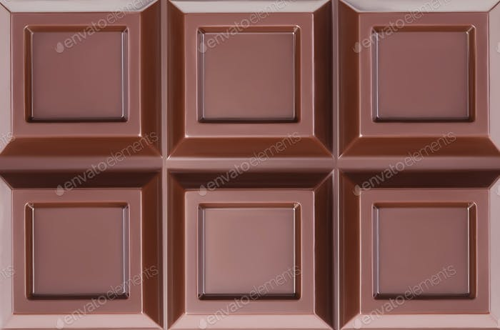 Chocolate bar closeup on white background.