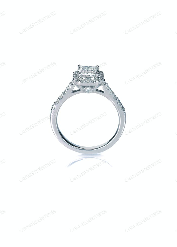 Beautiful Diamond Wedding band engagement ring side view