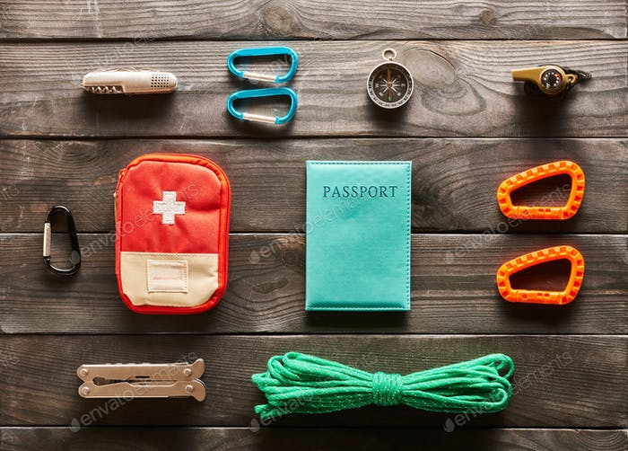 Travel items for hiking flat lay