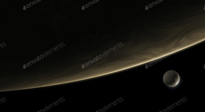 moon orbiting the exoplanet in the deep space, 3d illustration