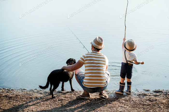 A rear view of father with a small toddler son and dog outdoors fishing by a lake.