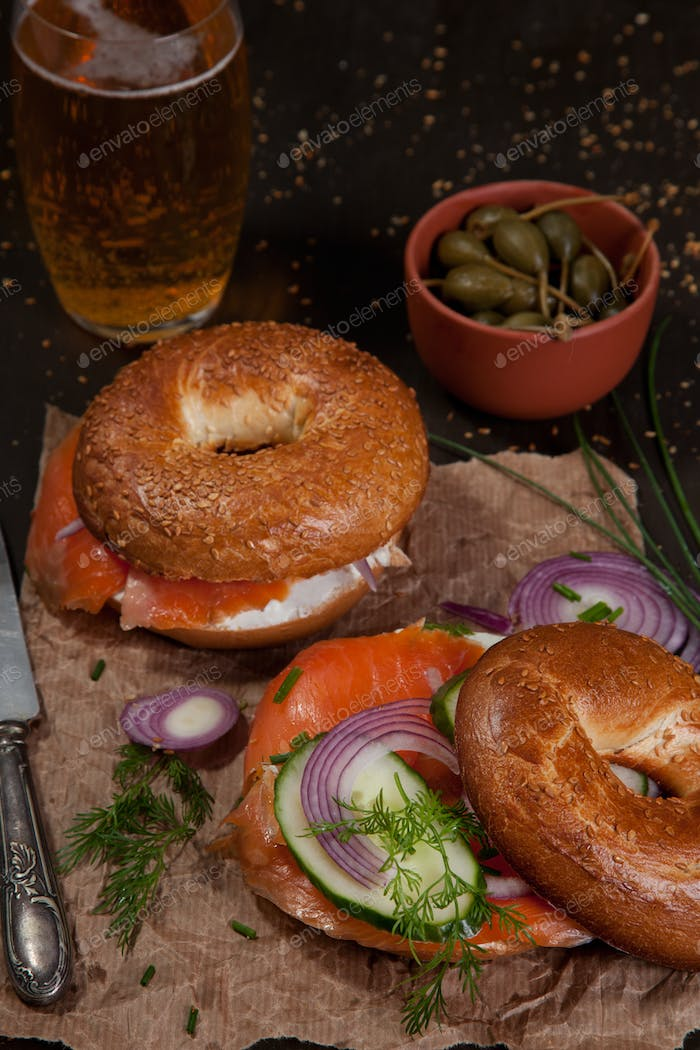 Rustic style dinner with bagles