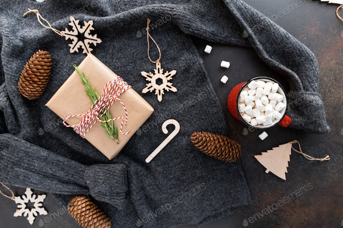 Top view of Christmas or winter time flat lay