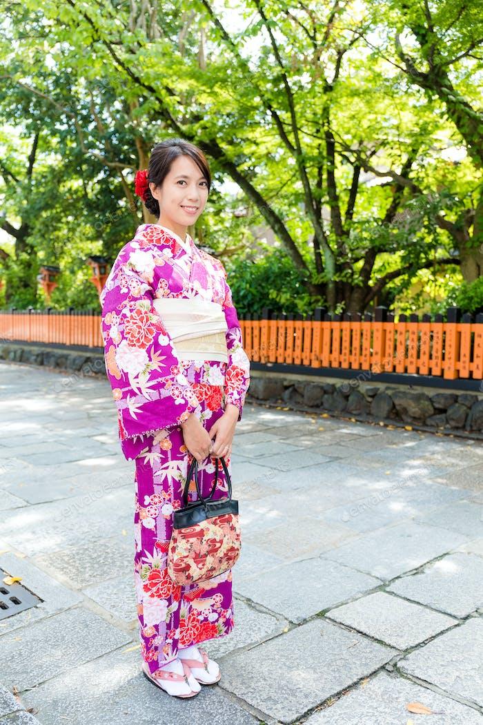 Woman with japanese kimono