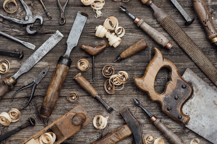 Old carpentry tools on the workbench