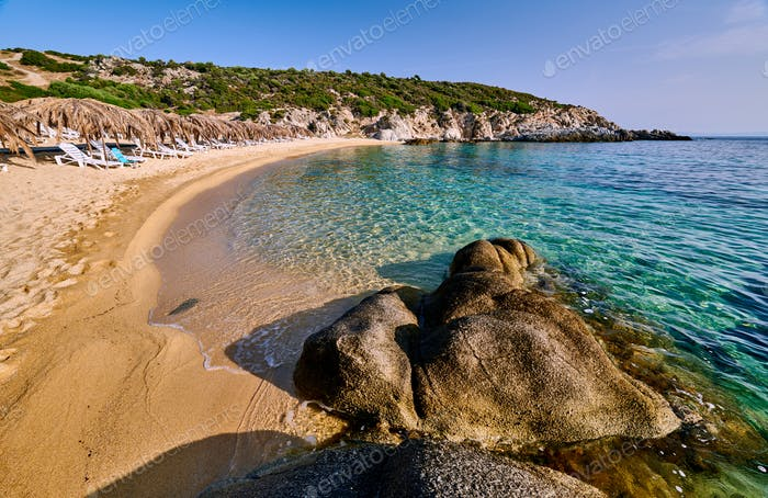 Beautiful beach and rocky coastline landscape in Greece